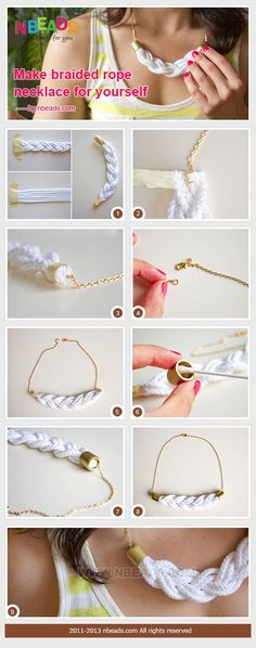 Make braided rope necklace for yourself