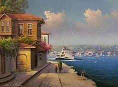 Resultado de imagen de istanbulun tarihi sokak yaglıboya resimleri