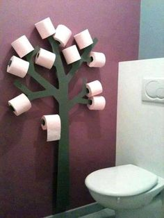 Muy original para poner los rollos de papel en el baño