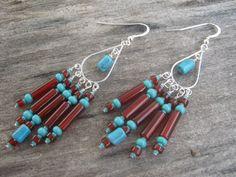 Turquoise & Carnelian Earrings Chandelier by Abundantearthworks, $52.00