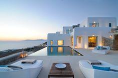 Luxury Greek Villas, Mykonos Villa for rent in mykonos Cyclades, Greece Villa Design, Modern House Design, Mykonos Villas, Hotel Villas, Mykonos Greece, Crete Greece, Athens Greece, Greece House, Design Exterior