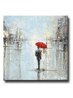 GICLEE PRINT Art Abstract Painting Couple Red Umbrella Girl White Grey Blue City Rain Modern Canvas Print