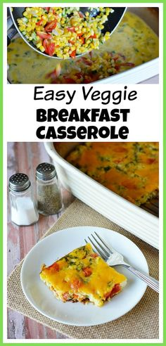 Easy Healthy Veggie Breakfast Casserole- If you want to start your day off right, then you should have a hearty breakfast- like this veggie breakfast casserole! It's easy to make, filling, and full of veggies! | breakfast recipe, healthy recipe, healthy breakfast, vegetarian recipe