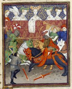 """ladies watching knights jousting, from 'Le Duc des vrais amants', BL Harley MS 4431 f. 150r: """"The Book of the Queen,"""" c. 1410-14 (France - Paris), made for Isabeau of Bavaria, Queen of France. Probably presented to her as a New Year's gift, Jan 1414. Later owned by John, Duke of Bedford; his wife, Jacquetta of Luxembourg; her son by her 2nd husband, Anthony Woodville, 2nd Earl Rivers; Louis de Gruthuyse; Henry Cavendish, 2nd duke of Newcastle."""
