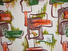 "Vtg Mid Century Barkcloth Curtain Panel Fabric Abstract Atomic 82"" x 40"" Orange"