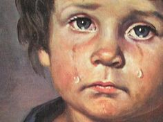 Geëmotioneerd, schilderij met emotie. Een kind dat verdrietig is en huilt.
