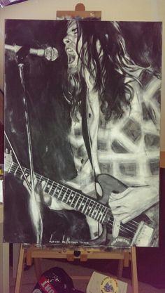 Kurt Cobain painting by Louw Koffeman Nirvana Art, Nirvana Kurt Cobain, Kurt Cobain Painting, Band On The Run, Music Icon, Pretty Men, A Boutique, Heavy Metal, Grunge
