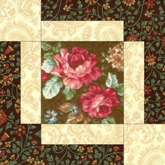 Quilt kit features nostalgic coral, pink and red roses on a brown background a very vintage looking quilt kit. Yes this quilt kit is pre-cut for you. There are