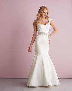 We adore this dramatic satin mermaid gown with cap sleeve! @allurebridals #weddinggown