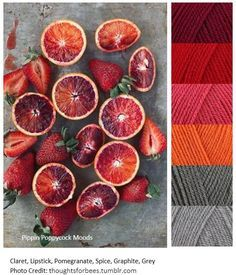 Loving the source of inspiration for this mood board, and the inclusion of textures. --- Summer Fruit -Mood Board The Effective Pictures We Offer You About Fruit decorations A quality picture can tell Yarn Color Combinations, Colour Schemes, Color Patterns, Orange Gris, Orange Shades, Red Colour Palette, Color Palettes, Grey Palette, Colour Colour