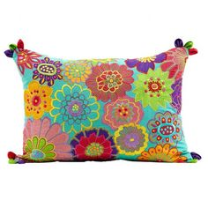 Rectangular Amy Floral Embroidered Cushion