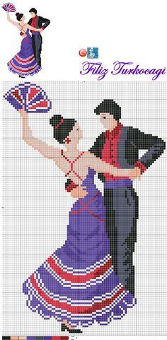 Dancing couple x-stitch Easy Cross Stitch Patterns, Simple Cross Stitch, Cross Stitch Designs, Blackwork Patterns, Palestinian Embroidery, Pattern Pictures, Alpha Patterns, Cute Couple Pictures, Embroidery Needles