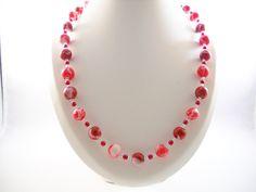 Rood+Wit+Ketting+met+Polymeer+Klei+Kralen+van+Seadbeady+juwelen+op+DaWanda.com