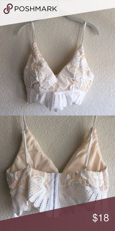 White Lace Crop Top Padded bust, corset back. Straps are adjustable. Not Topshop (listed for exposure)! Topshop Tops Crop Tops
