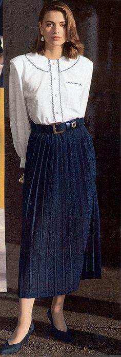 "retrocandi: """" A virtuous Christian lady wearing her nice, feminine, and proper church attire. Secretary Outfits, 80s And 90s Fashion, Retro Fashion, Tea Length Skirt, Sunday Outfits, Modest Fashion, Style Fashion, Modest Wear, Classic Skirts"