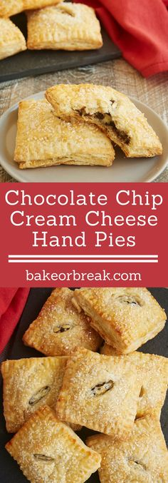 These Chocolate Chip Cream Cheese Hand Pies feature a sweet, chocolate-chip-filled cream cheese filling surrounded by buttery pie crust. They are amazingly delicious! - Bake or Break