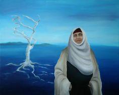 Islam, painting, gilding techniques, hijab, muslim, art