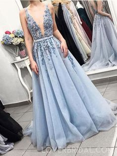 Sexy Backless Deep V Neck Dusty Blue Lace Long Evening Prom Dresses, Cheap Sweet 16 Dresses, 18438 - #backless #blue #Cheap #Deep #Dresses #Dusty #Evening #Lace #long #neck #Prom #Sexy #sweet