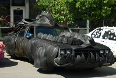 Car covered in tyres
