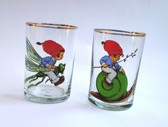 Cartoon Style Vintage Drinking Glasses, Set of 2, Soviet Glass with Boy on snake & Boy on dragonfly, Water and juice glasses, Tumblers 80's by VintagePolkaShop on Etsy