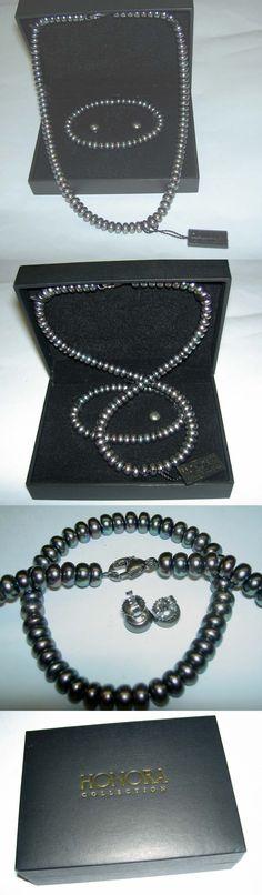 Pearl 164327: Honora Freshwater Peacock Tahitian Black Pearl 4 Necklace Bracelet Earrings Nib BUY IT NOW ONLY: $65.0