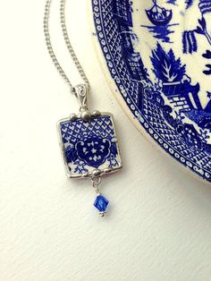 Broken china jewelry necklace pendant with Swarovski crystal antique blue willow china