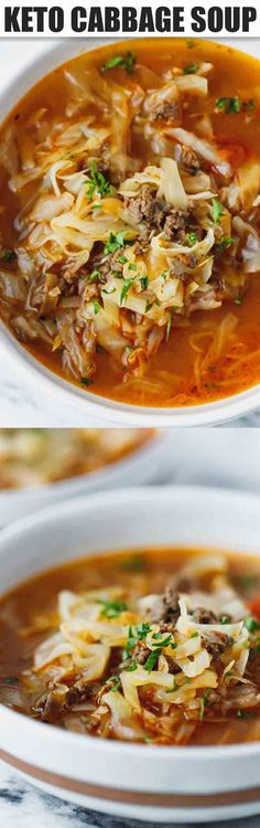 Keto Cabbage Soup - Keto Recipes - Ideas of Keto Recipes - Keto Cabbage Soup Recipe very quick and easy to make nutritious and delicious soup made with cabbage ground beef and tomatoes. Hearty one pot a family favorite perfect for the cold weather. Paleo Recipes, Cooking Recipes, Easy Recipes, Low Carb Soup Recipes, Greek Recipes, Lunch Recipes, Breakfast Recipes, Poulet Keto, Cabbage Soup Recipes