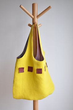 ON SALE  Yellow linen tote with leather by bybetweenthelines, €38.00