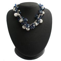 "Robert Rose Blue Beaded Cluster 17"" Adjustable Necklac + Black  Diamond #RobertRose #Beaded"
