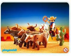 playmobil 3749 - cowboy and longhorn cattle
