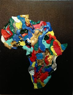 Multi colored acrylic painting of Africa. $75.00, via Etsy.