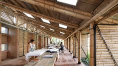 Ruta 4 builds clothing factory in rural Colombia from bamboo Workshop Architecture, Brick Architecture, Colombian Cities, Square Windows, Architectural Section, Clay Tiles, Cultural Center, Building Materials, Brick Wall