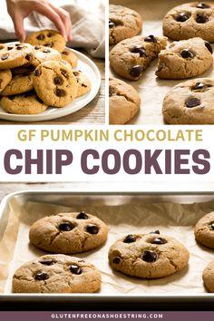 Gluten-free Pumpkin Chocolate Chip Cookies - For Halloween Best Gluten Free Desserts, Gluten Free Pumpkin, Gluten Free Baking, Pumpkin Recipes, Fun Desserts, Dessert Recipes, Halloween Desserts, Gluten Free Chocolate Chip Cookies, Pumpkin Chocolate Chips