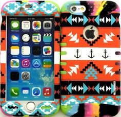 """Amazon.com: Rainbow, Orange and Black """"Aztec Tribal Arrows with Non-Slip Grip Texture"""" 3 Piece Layered ULTRA Tuff Custom Armored Hybrid Case for the NEW iPhone 6 Plus 5.5"""" Inch Smartphone by Apple {Made of Soft Silicone Gel and Hard Rubberized Plastic with External Built in Kickstand} """"All Ports Accessible"""": Cell Phones & Accessories"""