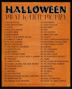 Must watch movie list for Halloween!