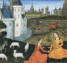 Robinet Testard, Bergères, extraits des Secrets de l'histoire naturelle.-  Un compte rendu de 1487 mentionne Robinet Testard comme enlumineur touchent une rente annuelle de 35 livres. A la mort du duc d'Angoulême Charles d'Orléans, il est chargé de peindre son chariot de funérailles. Il reste au service de sa femme, Louise de Savoie et lui réalise de nombreuses commandes. En 1515 il devient pensionnaire à 100 livres par an.