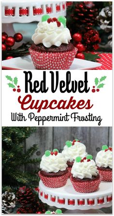 These Holly Red Velvet Cupcakes are so festive, and the perfect dessert to take to a Christmas party! The recipe is easy, so you won't spend hours in the kitchen. You're welcome! This will end up being your go-to holiday dessert recipe!