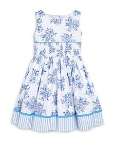 US Angels Girls' Smocked Floral Dress - Sizes 2-6X