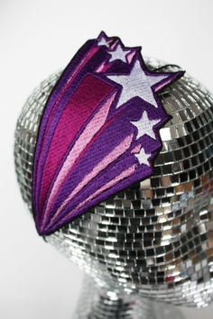 Retro Shooting Stars Headband Embroidered Purple and Pink. £17.00, via Etsy.