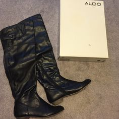 LAST CHANCE - Aldo knee high black boots ALDO knee high black leather boots in original box, 1 inch heel, zippers on inside, wear as seen in picture 3 on toes, can't be seen much while wearing, open to offers, loved these so much! ALDO Shoes Over the Knee Boots