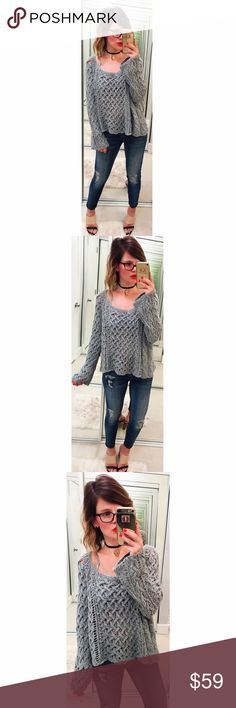 ➡Free People Crochet Pullover⬅ An airy cotton crochet fashions a sheer, lightweight sweater with a chic, slouchy neckline and trendy bell sleeves. Free People Sweaters