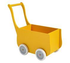 Yellow retro wooden doll stroller | Houten poppenwagen geel
