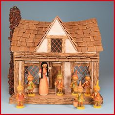 Here's a delightful set of 8 miniature wooden Erzgebirge figurines featuring Snow White and the 7 Dwarfs. These handcrafted fairytale characters are