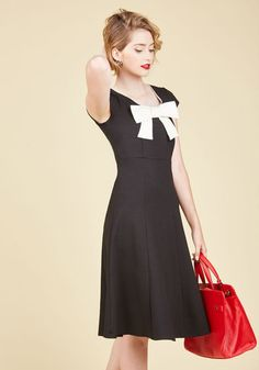 Be There With Bows On A-Line Dress - Black, White, Solid, Bows, Work, Daytime Party, Pinup, Vintage Inspired, 40s, 50s, Short Sleeves, Fall, Best, Knit, Long, Halloween, LBD, A-line, Scoop