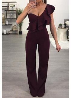 SPECIFICATIONS: Product Name Fashion One Shoulder Sleeveless Jumpsuits Brand Pinksia Color Claret red SKU Gender Women Style Elegant/Sexy/Fashion Type Jumpsuit Occasion Party/Vacation/Daily Life Material Polyester Sleeve Short Sleeves Decora Jumpsuit Outfit Dressy, Formal Jumpsuit, Elegant Jumpsuit, Black Jumpsuit, Dressy Jumpsuit Wedding, Prom Jumpsuit, Jumpsuit Elegante, Moderne Outfits, Fashion Clothes