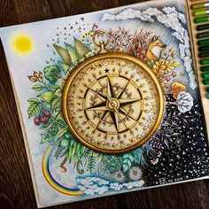 WEBSTA @ evgesha_kashulya - Времена года☁️❄️#johannabasford #джоаннабэсфорд #зачарованныйлес #цветныекарандаши