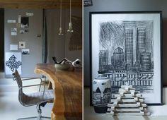 Timber table & grays, black & white by Studio bakker found on Bloesem blog