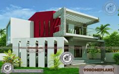 Modern 2 Storey House Design with New Model Contemporary House Plans Simple House Exterior Design, Small House Design, Indian House Plans, New House Plans, Drawing House Plans, 2 Storey House Design, House Design Pictures, House Plans With Photos, Model House Plan