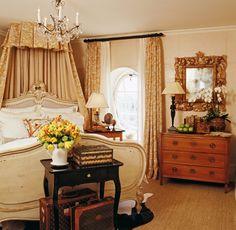 Antique-filled bedroom.