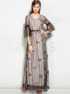 Shop for high quality Mesh Bird Embroidered Flare Sleeve Maxi Dress online at cheap prices and discover fashion at Ezpopsy.com